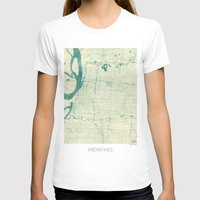 memphis T-shirts featuring Memphis Map Blue Vintage by City Art Posters