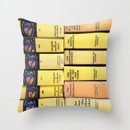 Nancy Drew Vintage Books Throw Pillow