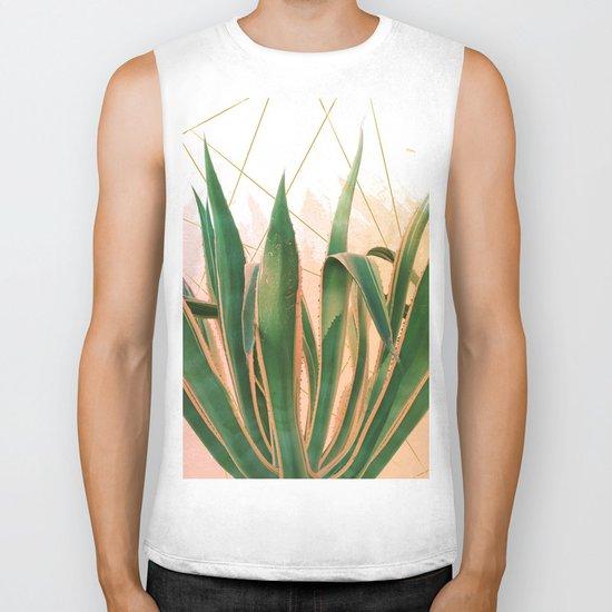 Cactus with geometric Biker Tank