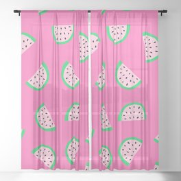 Watermelon Neon Pink Pattern Sheer Curtain