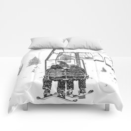Snow Lift // Ski Chair Lift Colorado Mountains Black and White Snowboarding Vibes Photography Comforters