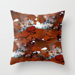 Branches in burgundy and bronze - Seamless fall leaf pattern Throw Pillow