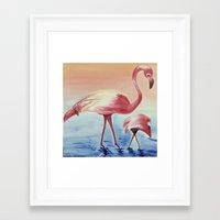 flamingos Framed Art Prints featuring FLAMINGOS by ArtSchool