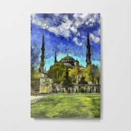 Blue Mosque Istanbul Art Metal Print