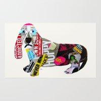dachshund Area & Throw Rugs featuring dachshund graffiti by bri.buckley