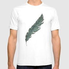 CRAYON LOVE: Aqua Feather MEDIUM White Mens Fitted Tee