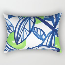 Blue and lime green abstract apple tree Rectangular Pillow