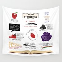 once upon a  time Wall Tapestries featuring Once Upon a Time Quotes by CLM Design