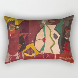 Lichtenstein - The Assimiboins Attacking a Blackfoot Village at Fort Mckenzies Rectangular Pillow