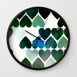Mod Blue Hearts Wall Clock