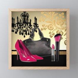 Chandelier Handbag Pumps Cosmetics Fashion Collage Framed Mini Art Print