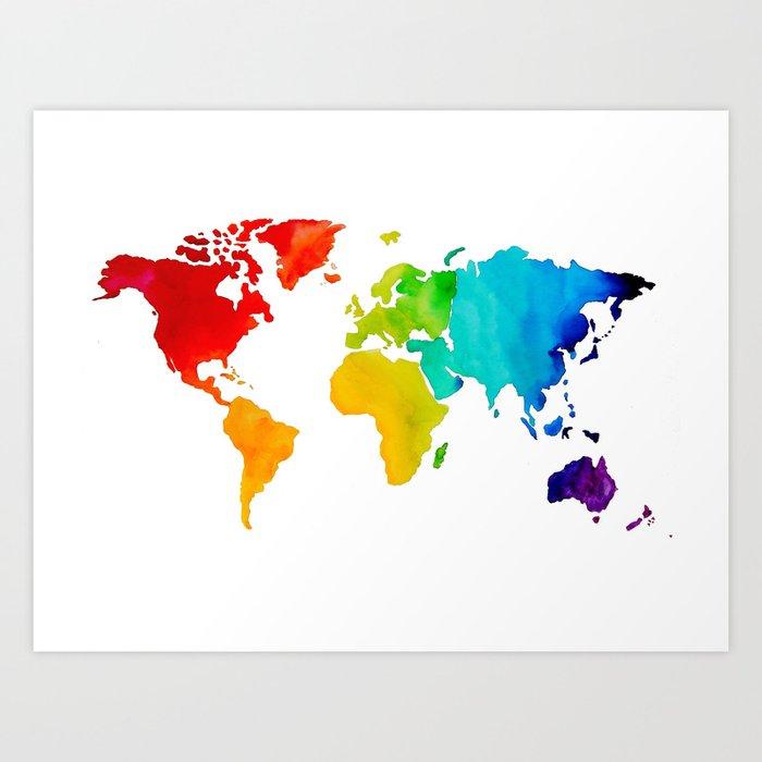 Original Watercolor - Map of The World - Travel Art - Chakra Rainbow ...