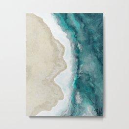 Waves, Beach, Ocean, Blue, Sandy Metal Print