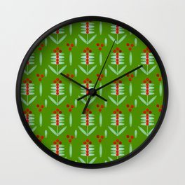 Lingonberry pattern - By Matilda Lorentsson Wall Clock