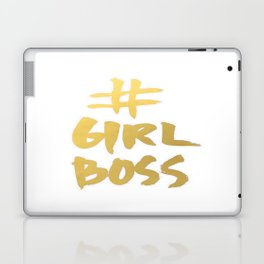 Gold Foil Girl Boss Inspiration Quote Office Boss Babe Brushstroke Watercolor Ink Classic Laptop & iPad Skin
