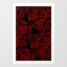 Chrysanthemums Red on Black Art Print