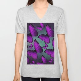 BUTTERFLY PURPLE Unisex V-Neck