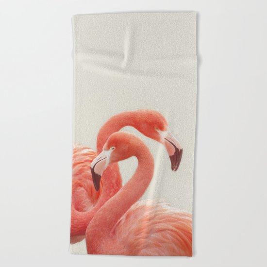 FLAMINGOS by Monika Strigel Beach Towel
