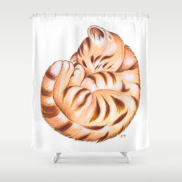 Cute Ginger Tabby Fur Ball Shower Curtain