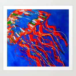 Red Jellyfish Art Print