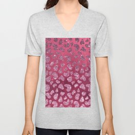 Abstract pink burgundy glitter gradient animal print Unisex V-Neck