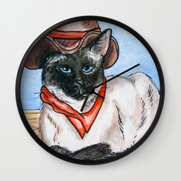 Yang Cowgirl Kitty Wall Clock