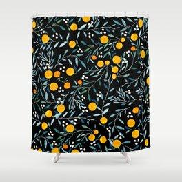 Oranges Black Shower Curtain