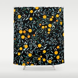 Oranges Black Shower Curtain