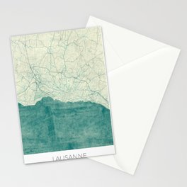 Lausanne Map Blue Vintage Stationery Cards