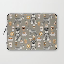 Schnauzer coffee dog breed pet art pure breed cafes pupuccino Laptop Sleeve