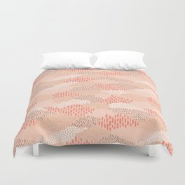 Dashes and dots in blush pink // abstract pattern Duvet Cover
