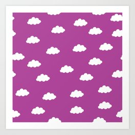 White clouds in purple pink background Art Print