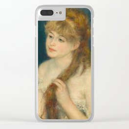 Classic Art - Young Woman Braiding Her Hair - Auguste Renoir Clear iPhone Case