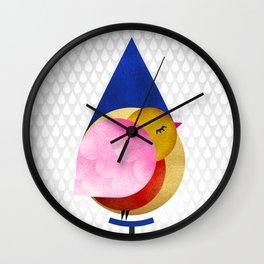 039 birdie kisses the sweet morning raindrop Wall Clock