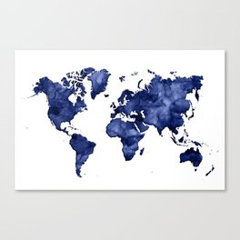 Dark navy blue watercolor world map Canvas Print