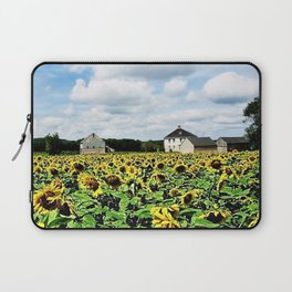 New England Sunflower fields and barns by Jéanpaul Ferro Laptop Sleeve