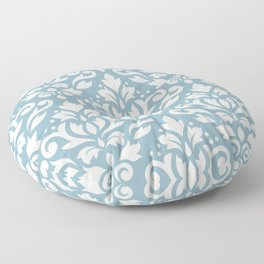 Scroll Damask Big Pattern Cream on Blue Floor Pillow