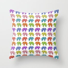Colorful Parade of Elephants in Red, Orange, Yellow, Green, Blue, Purple and Pink Throw Pillow