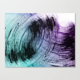 Wide Sweeping Black Brushstrokes with Aqua and Purple Canvas Print