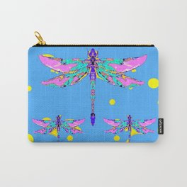 PINK DRAGONFLIES BABY BLUE ART CREAMY ABSTRACT ART Carry-All Pouch