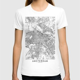 Amsterdam White Map T-shirt