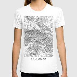 Amsterdam White Map T-shirt