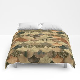 Brown Copper Glamour Mermaid Scale Pattern Comforters