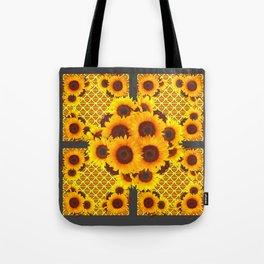 CHARCOAL GREY GOLDEN SUNFLOWERS ART PATTERN DESIGN Tote Bag