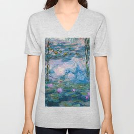 Water Lilies Monet Teal Unisex V-Neck