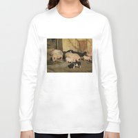 pigs Long Sleeve T-shirts featuring Pigs' Party by Vito Fabrizio Brugnola