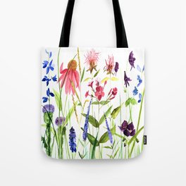 Botanical Colorful Flower Wildflower Watercolor Illustration Tote Bag
