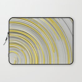 Glowing yellow concentric spirals on white Laptop Sleeve