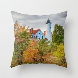 Michigan Upper Peninsula Lighthouse Autumn Great Lakes Landscape Throw Pillow