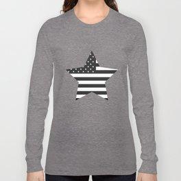 American Flag Stars and Stripes Black White Long Sleeve T-shirt